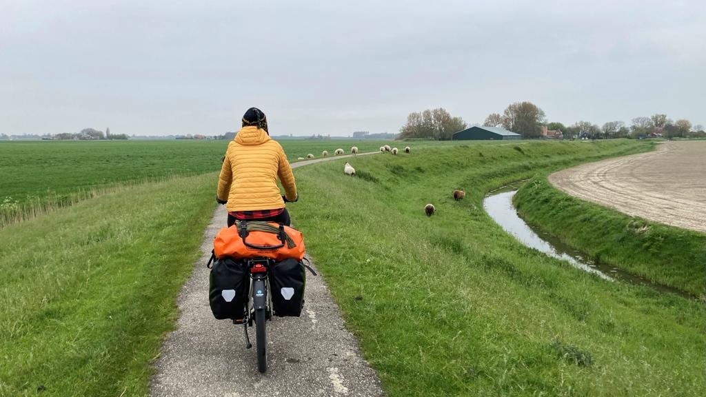 Rondje Nederland Paula fietsen Friesland