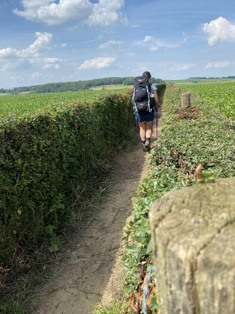 Dutch Mountain Trail etappe 2 lopen langs meidoornhaag richting Eys